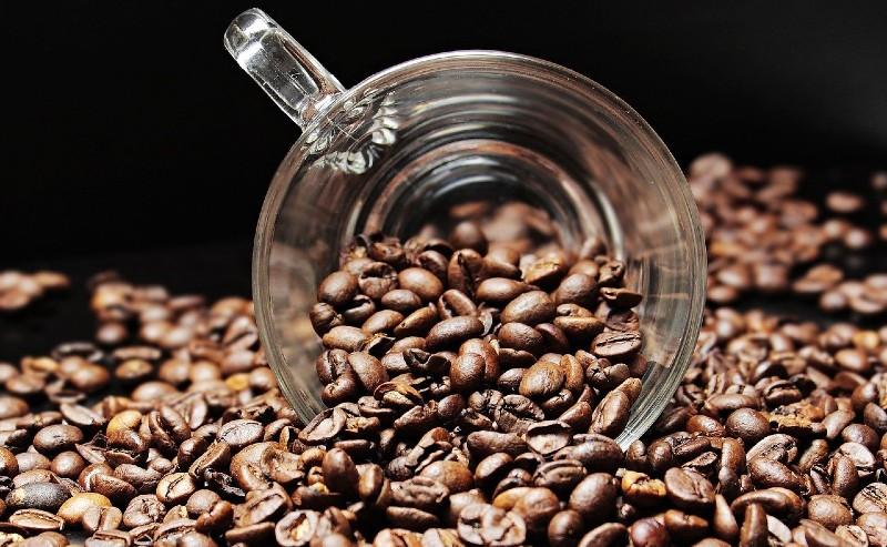 grains de café prêt à être moulu dans une machine à cafetière