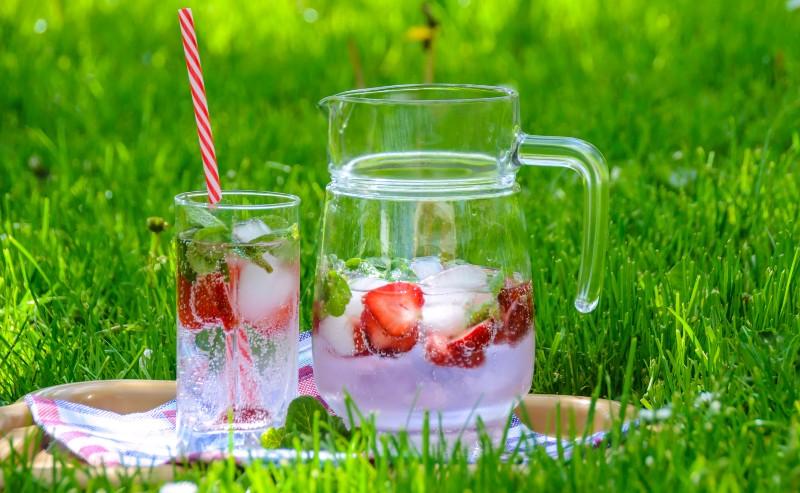 carafe d'eau posée sur une pelouse lors d'un pique nique