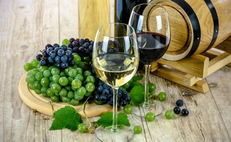 verre à vin blanc et un verre à vin rouge posé proche d'un tonneau de vin
